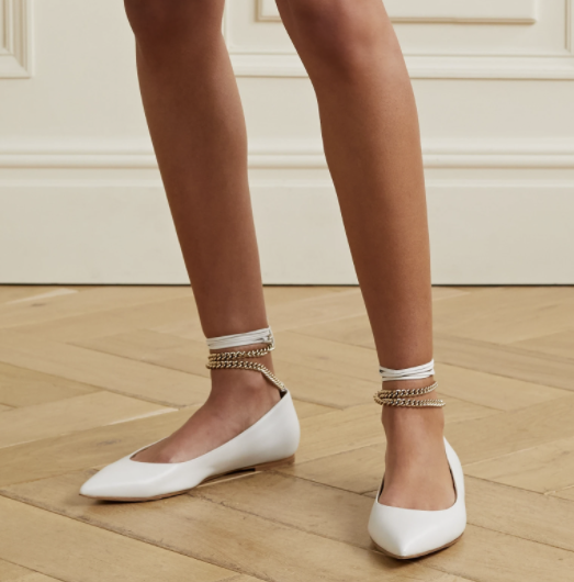 Chain-embellished leather point-toe flats